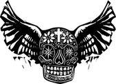 Dag van de dood gevleugelde schedel — Stockvector
