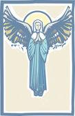 Angel Winged Virgin Mary — Stock Vector
