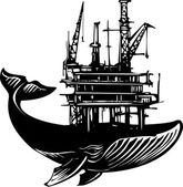 Whale Oil Rig — Stock Vector