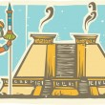 Mayan Warrior and Pyramid — Vetorial Stock