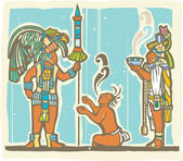 Mayan Warrior, Captive and Priest — Stock Vector
