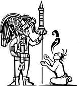 Mayan Warrior and Captive — Stock Vector