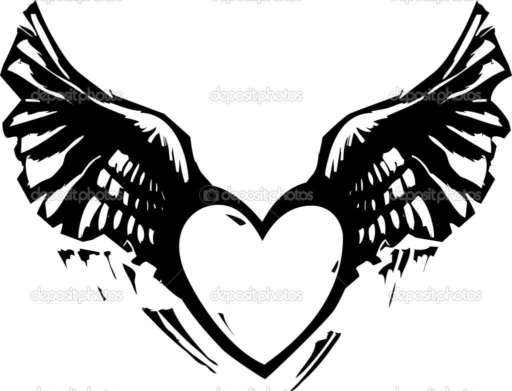 Winged Heart Black White — Stock Vector © xochicalco #42159021