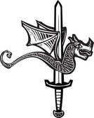 Dragon Sword Up — Stock Vector