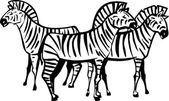 Three Zebras — Stock Vector