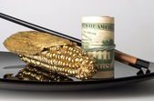 Money and gold - food for the world economy — Stock Photo