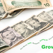 Creative Growng up of U.S. currency — Stock Photo