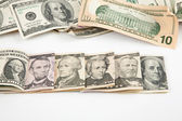 Every denomination of U.S. currency — Stock Photo