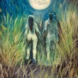 Man and woman oil painting — Stockfoto
