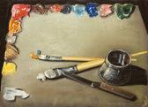 Artist's palette with brushes — Stock Photo