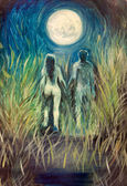 Man and woman oil painting — Stock Photo