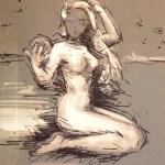 Beautiful young woman - hand drawn — Stock Photo #35920537