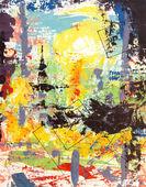Origineel schilderij, olie en mixed media — Stockfoto