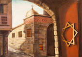 Big gate of old City water color painting — Stock Photo