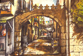 Old City water color painting — Stock Photo