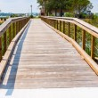 Wooden Beach Walkway Bridge — Stock Photo
