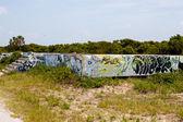 Abandoned Building Foundation With Graffiti — Stock Photo