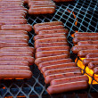 Rows Of Hot Dogs On The Grill — Stock Photo