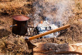 Campfire And Axe — Stock Photo