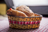 Chocolate croissants in a basket  — Stockfoto
