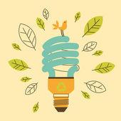 Ecological saving lamp — Stock Vector