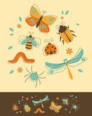 Conjunto de insectos — Vector de stock