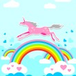 Unicorn on Rainbow — Stock Vector