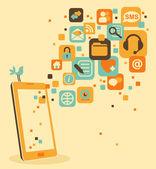 Smartphone et sociaux, médias, web icônes — Vecteur