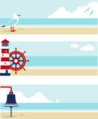 Banners de mar — Vetor de Stock
