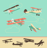 Vintage Airplanes — Vector de stock