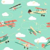 Seamless Background of Vintage Airplanes — Stock Vector