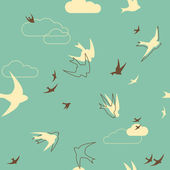 Flock of swallows Seamless Pattern — Stock Vector