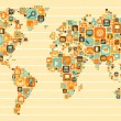 World Map: social and media icons — Vettoriali Stock