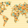 World Map: social and media icons — Stockvectorbeeld