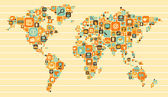 World Map: social and media icons — Stock Vector