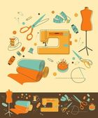 Sewing objects — Stock Vector