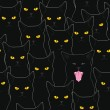 Vector de stock : Black cats pattern