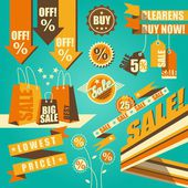 Retro-styled sale set — Stock Vector