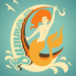 Mermaid with banner — Stock Vector