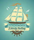 Liberty sailing — Stock Vector