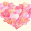Stock Photo: Colorful crayon drawing hearts