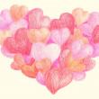 Colorful crayon drawing hearts — Stock Photo