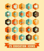 Flat education icons — Stock Vector