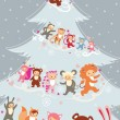 Kids Christmas tree — Stockvectorbeeld