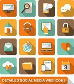 Social, media, web icons — Stock Vector