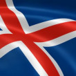 Icelander flag in the wind. — Vídeo Stock