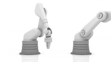 Brazos robóticos industriales construcción de palabra de los medios de comunicación — Vídeo de stock