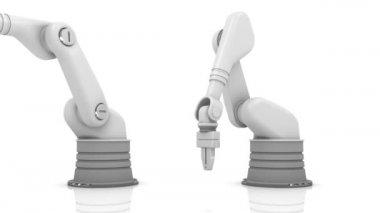 Industrial robotic arms building PLAN word — Stock Video