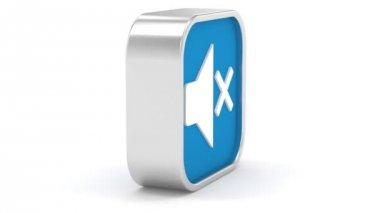 Blu scuro disabilitare audio segno — Video Stock