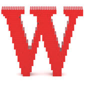 Letter W built from toy bricks — Stock Photo